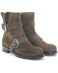 Jimmy Choo - Ankle Boots Suede Decorative Buckle Metal Decorations Brown Grey - Lyst