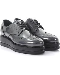 Hogan | Lace-up Loafers Derby H323 Leather Grey | Lyst