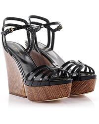 Sergio Rossi - Sandals Clogs Edwige Plateau Straps Patent Leather Black - Lyst