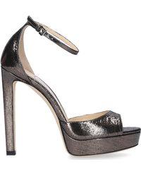Jimmy Choo Sandals Pattie 130 Calfskin Anthracite - Grey