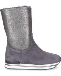 Hogan Ankle Platform Boots At60 Suede Logo Grey