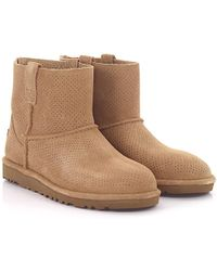 UGG - Boots Classic Unlined Mini Perforation Suede Beige Perforated - Lyst
