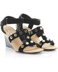 Balenciaga Strappy Studded Leather Sandals - Black