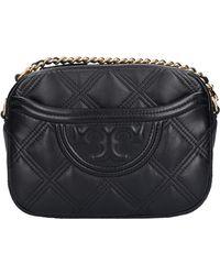 Tory Burch Handbag Fleming Calfskin Logo Black