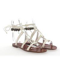 Dior Sandals Zodiac Leather White Metal Embellished