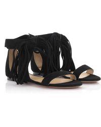 Chloé Sandals Suede Black Fray