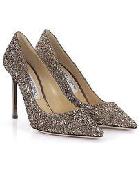 Jimmy Choo - Court Shoes Romy 100 Fabric Glitter Gold - Lyst