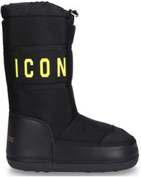 DSquared² 20mm Icon Nylon & Leather Snow Boots - Black
