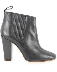 Marc Jacobs Schuhe Stiefeletten 684997 Glattleder Metallisch grau