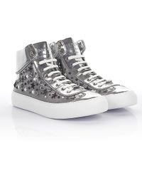 Jimmy Choo - Trainers High Argyle Metalic Nappa Leather Silver With Star Embalished - Lyst