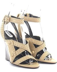 Balenciaga Wedge Sandals Leather Beige Peekaboo Design - Natural