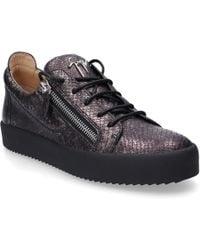 Giuseppe Zanotti - Low-top Sneakers Frankie Calfskin Embossing Logo Dark Grey - Lyst