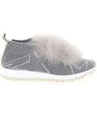 Jimmy Choo Schuhe Slip Ons NORWAY Logo silber - Grau