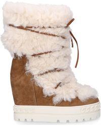 Casadei Schuhe Stiefeletten 2R702 Fellschaft braun - Natur