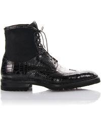Santoni Lace-up Boots - Black
