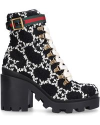 Gucci GG Heeled Tweed Ankle Boots - Black