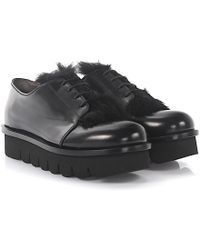 Agl Attilio Giusti Leombruni Agl Loafers Plateau Leather Black Rabbit Fur