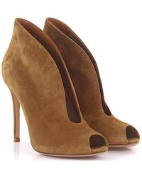 Gianvito Rossi - Ankle Boots Vamp Peeptoe Suede Brown - Lyst