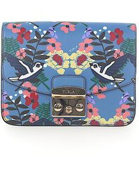 Furla - Shoulder Bag Metropolis Leather Blue Bird Print - Lyst