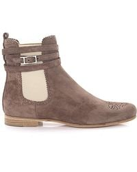 best sneakers 40a83 11d1c Ankle Boots Calfskin Suede Hole Pattern Brown