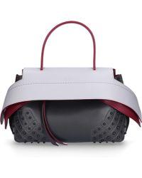 0f55e4417f8 Tod's - Women Handbag Wave Leather Logo Burls Red Gray Black - Lyst