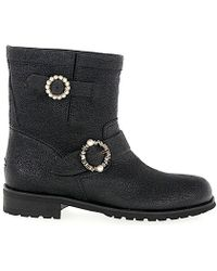 Jimmy Choo Ankle Boots Youth Calfskin Crinkled Black