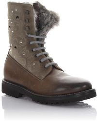 Henderson - Ankle Boots Leather Suede Brown Grey Rabbit Fur Embroidery Strass - Lyst