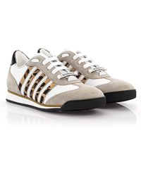 e75a080d9640 DSquared² - Sneakers New Runner Leather White Suede Gray Pony Leo Print -  Lyst