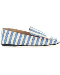 Sergio Rossi Slip On Shoes A77990 Textile Metal Buckle Beige Blue