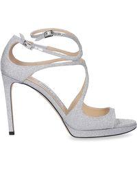 Jimmy Choo Glitter Leather Stiletto Pumps - Gray