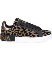 Dolce & Gabbana - Sneaker low PORTOFINO Glattleder Polyurethan Logo gold schwarz - Lyst