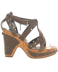 Dior Schuhe Keilsandaletten Glattleder Kalbsleder Metallverzierung khaki - Braun