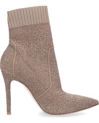 Gianvito Rossi Ankle Boots Fiona Bootie Nappa Leather Print Beige - Natural