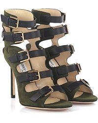 Jimmy Choo | Sandals Trick 110 Suede Green | Lyst