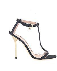 DSquared² Schuhe Sandalen C503 Veloursleder Strass schwarz