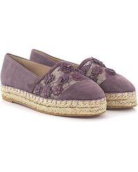 Elie Saab - Flat Shoes Suede Flower Pattern Purple - Lyst