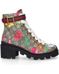 Gucci Ankle Boots GG Floral Calfskin Flower Pattern Beige Beige-combo - Natural