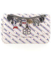 Balenciaga - Handbag Shoulder Bag Bb Round M Leather Logo White Blue Orange - Lyst