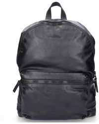 Santoni Bagpack A1873 Nappa Leather Logo Embossing Black