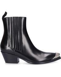 Sartore Ankle Boots Sr3655 Calfskin Metal Tip Black