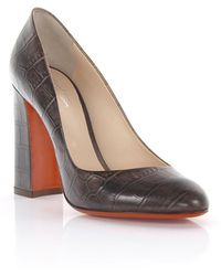 Santoni - Court Shoes Leather Brown Crocodile Embossing - Lyst