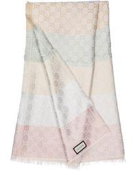 Gucci Women Scarf Shiny Summer Wolljacquard Lamé Ecru Pastel - White