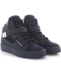 Giuseppe Zanotti - Sneaker Carter Mid Top Leather Suede Blue - Lyst