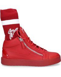 Giuseppe Zanotti High-top Sneakers May London Calfskin Logo Red