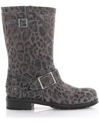 Jimmy Choo Boots Calfskin Suede Decorative Buckle Lion Print Grey