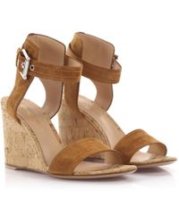 53be9be511122 Jimmy Choo  panna  Cork Wedge Patent Leather Sandals in Black - Lyst