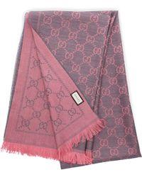 Gucci Women Scarf 3g200 Wool Logo Pink Grey - Multicolour