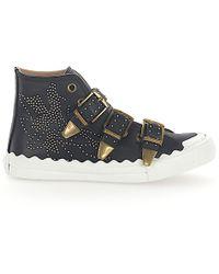 Chloé Trainers Susanna High Leather Black Rivets Gold Floral