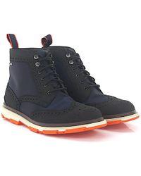 722f9de6c6de2a Santoni. Chelsea Boots Calfskin Stretch Suede Blue.  633. Budapester ·  Swims - Boots Budapester Storm Brogue High Black Hightech-jersey Blue - Lyst