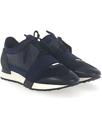 Balenciaga   Trainers Race Runner Leather Suede Blue Fabric Black   Lyst